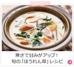 寒さで甘みがアップ!旬の「ほうれん草」レシピ